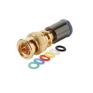 Eagle BNC Compression Connector Mini RG59 Coaxial Gold Mini with 6 Color Bands Permaseal II Gold Plate Coaxial Cable Snap-On Line Plug Adapter, RF Digital Audio Video RG59 Component Connection