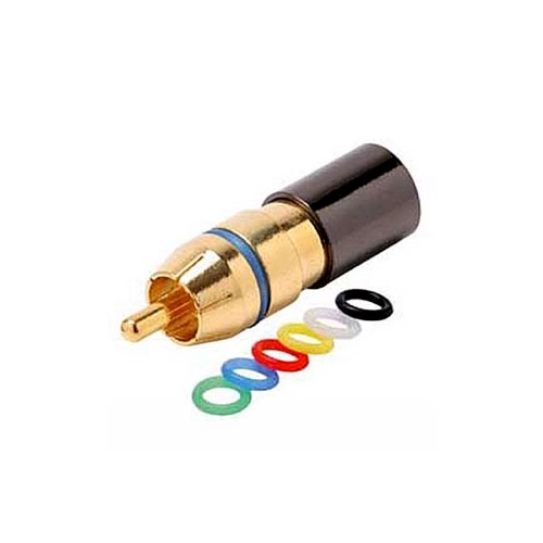 Steren 200-087 RCA Compression Connector Quad Shield RG6 with 6 Color Coded Bands Gold Plated Permaseal II RG-6 Female to RCA Male Plug Adapter, RF Digital Commercial Audio Video Component, Part # 200087