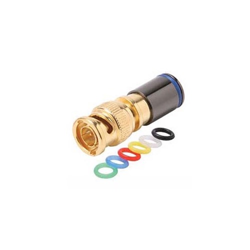 Eagle BNC Compression Quad RG-6 Connector Gold with 6 Color Bands Permaseal II Gold Plate Coaxial Cable Snap-On Line Plug Adapter, RF Digital Audio Video RG6 Quad Component Connection