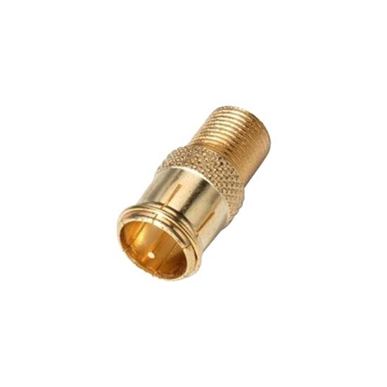 F Plug Quick Connector Adapter Disconnect Gold Coax Cable Push On Magnavox M61026 Male RF Digital Coaxial Cable Push-On RF Signal TV Video Component Converter, Part # M-61026