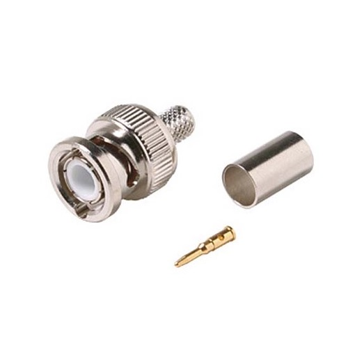Steren 200-141 BNC Hex Crimp Male Connector 3 Piece Plug Commercial Grade RG6 RG-6 Coaxial Female Crimp Plug Connector Hex Crimp BNC Connector, Part # 200141