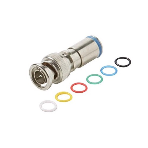 Steren 200-164 BNC Permaseal II RG6 Quad Compression Connector Coaxial Cable Nickel Plated Brass 6 Color Bands Audio Video High Performance RG-6 Quad BNC Connector 1 Pack Lot, Part # 200164