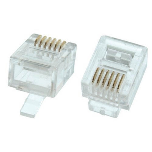 Steren 300-166 RJ12 Plug Connector Modular Solid Round 6P6C Plug 24-26 AWG 6 Micron 24K Gold Plated Male RJ-12 6X6 Plug Connector 1 Pack 6 Pin Male Network Connector Data Telephone Line Plugs, Part # 300166