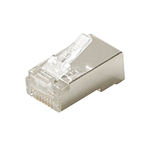 Steren 301-188 CAT5E Shielded Plug Connector Modular Solid RJ45 8 Pin Gold Plated Contacts UL 24-28 AWG 3-Prong Network Ethernet Data Telephone Line