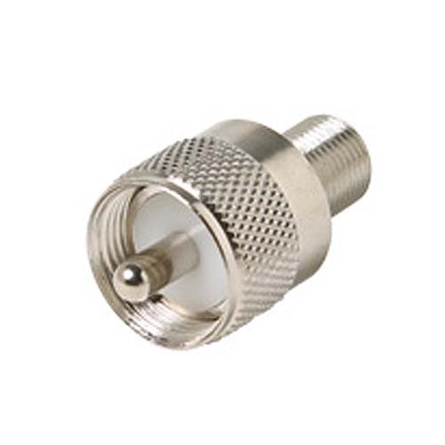 Steren 200-194 UHF Male Plug to F-Female Jack Adapter Coaxial Connector UHF Plug to F Jack Commercial Grade Nickel Plated with Delrin Insulator TV Antenna Satellite Components Plug, Part # 200194
