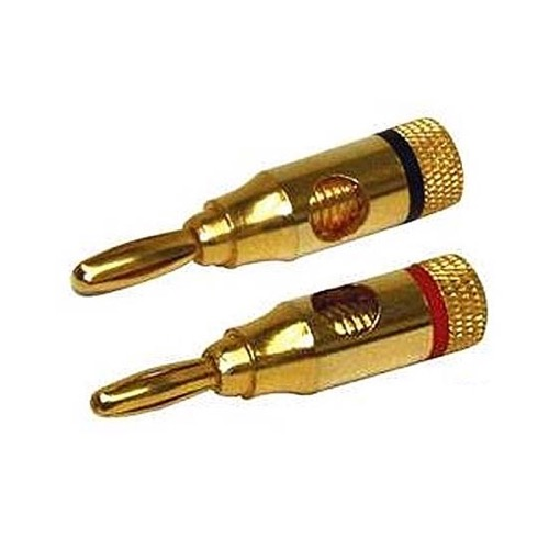 Steren 250-201 Banana Plug Connector 1 Pair Gold 18 to 12 AWG 2 Pack Speaker Compression Connector Black Red Connector Gold Plate 18 to 12 AWG Wire Pair Speaker Jack, Part # 250201