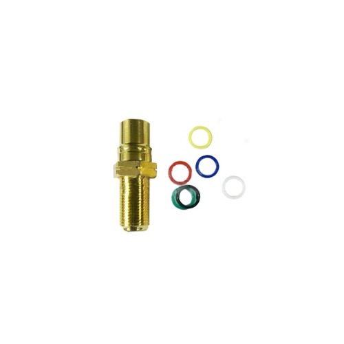 Eagle RCA Jack Female to F Jack Female Panel Mount Gold Adapter Connector Coupler Audio Video Gold Plate Brass Insert Color Bands Round Adapter Insert Wall Plate RCA to F81 Plug Jack 1 Component Connector