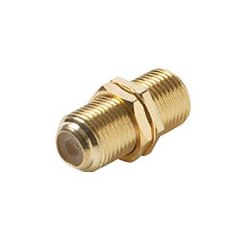 Steren 251-503 Single F Type Barrel Coupler Gold Plate F-81 F to F Female Connector Wall Plate Use Barrel 1 Pack Jack Splice Connector Adapter Jointer Coupling Audio Video Coaxial Cable Plug Extension