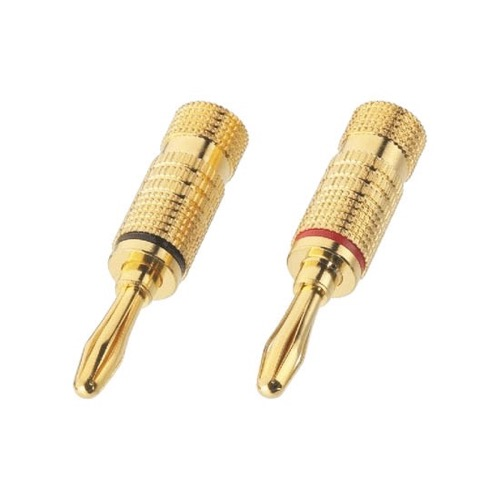 Eagle Banana Speaker Connector Plug 2 Pack Gold Twist-On 10 - 12 Gauge GAWire 1 Pair Digital Audio Jack Component Signal Cable, Easy Hook-Up
