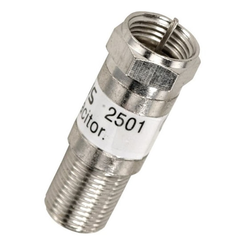 Linear 2501-10 In-Line Blocking Capacitor F-Connector Type DC Block and IR Control Pulses Passes RF Signal 75 Ohm Female to Male 10 Pack F Type Blocking Capacitor Coaxial Cable Connector Plug Adapter, Part # 2501-10