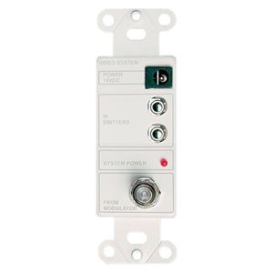 Linear 2010 In-Wall Power Injector Wall Plate IR Interface White Decora Style Insert with Two IR Emitter Ports and RF Output Interface Module Power Jack for Remote Power