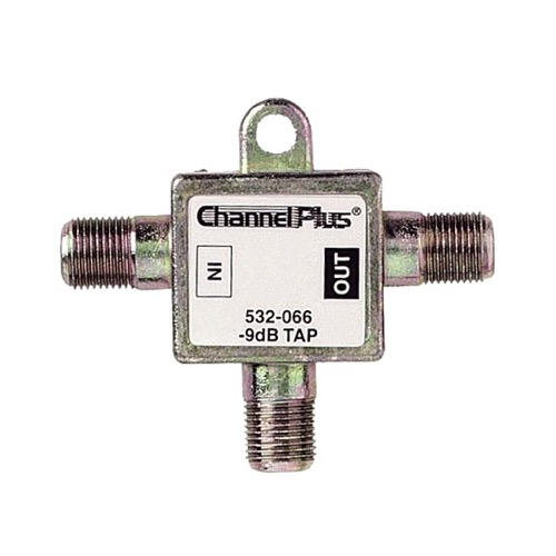 Channel Plus 2509 9 dB Directional Tap 1 GHz Bandwidth Combiner 75 Ohm 1 Pack Signal Bandwidth Combiner 2 Way Splitter with 1dB Minimal Output Loss and 9db High Loss Signal Strength Adapter, Part # 2509