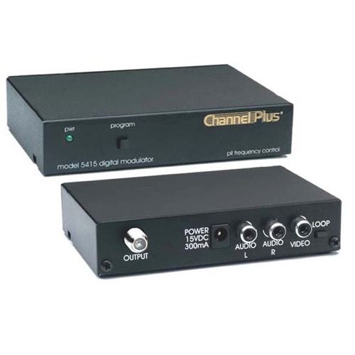 Channel Plus 5415 Single Channel RF Modulator 25 dB Frequency Agile Loop Thru 1 Channel Push Button CATV Channels 65 - 125 Off-Air DTV UHF Channels 14 - 64
