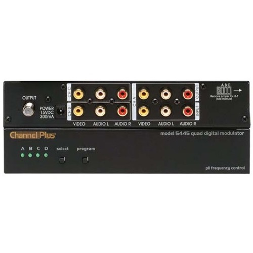 Channel Plus 5445 Four Channel Modular Video Quad Source RF Digital Modulator Frequency Agile 25 dB 4 Input Loop Thru Four Channel Push Button Signal Modulator CATV 65 - 125 Off-Air DTV UHF 14 - 64