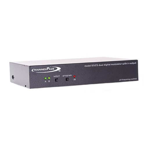 Linear Dual Input Video Distribution Modulator  25 dB Gain Signal CATV Off-Air TV Antenna, Gold RCA Connectors and IR Emitter