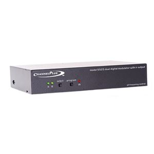 Channel Plus 5525 Dual Channel Digital Tuned A/V Modulator with IR Converts Baseband Signal to Selectable UHF CATV Distribution Modulator 25 dB Gain Off-Air TV Antenna, Gold RCA Connectors and IR Emitter, Part # CP5525