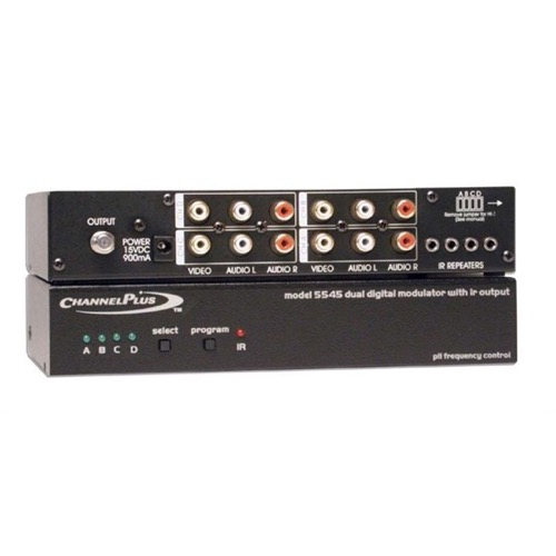 Channel Plus 5545 Four Channel Modulator UHF 14-64 CATV with IR 22 dB Gain 4 Channel Distribution Quad Signal Off-Air TV Antenna, Gold RCA Connectors, Part # CP5545
