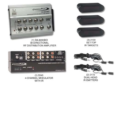 Channel Plus 5558BID 5 Volt 4-Channel Video RF Distribution Kit Linear Starter Bi-Directional Amp CATV IR Control 8 Room TV Distribution 5V IR System, Bi-Directional Amplifier, Video Modulator, Set-Top IR Targets, Dual Head IR Emitter, Part # 5558-BID