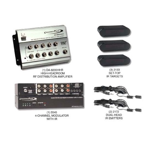 Channel Plus 5558HHR 4-Channel Video RF Distribution Kit Linear Starter Modulator 5 Volt IR High-Headroom 8 Room TV Distribution 5V IR System, Distribution Amplifier, Video Modulator, Set-Top IR Targets, Dual Head IR Emitter, Part # 5558-HHR