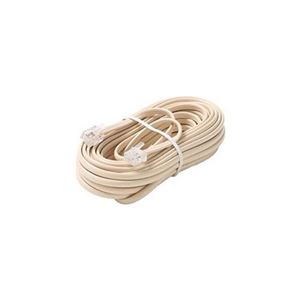 Eagle 25 FT Phone RJ11 Cord Ivory 4 Conductor Modular Plug Flat Telephone Line Modular RJ11 Phone Connect Ivory RJ-11 Communication Wire Extension Cable with Snap-In Wall