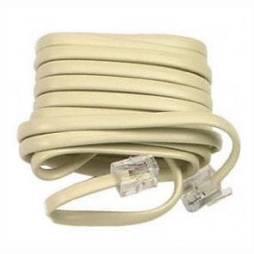 Leviton Phone Line Cord 50' FT Modular Plug Cable RJ-11 RJ11 Modular Flat 6P4C Plug Wall Jack Snap-In Wire Hook-Up Extension with Modular Connector Plugs, Part # C2413,C2413