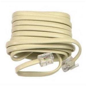 50' FT Phone Line Cord Cable RJ-11 RJ11 Ivory Modular Flat  6P4C Plug Wall Jack Snap-In Wire Hook-Up Extension with Modular Connector Plugs, Part # Leviton C2413,C2413