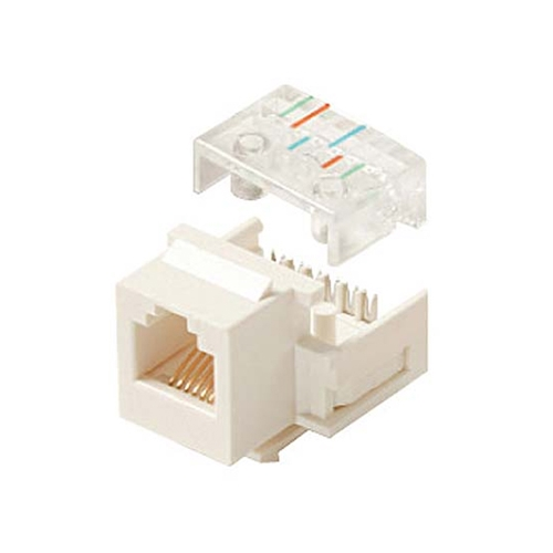 Steren 310-106WH-10 White Telephone Keystone Jack Insert 6-Conductor 6P6C RJ12 CAT3 Modular RJ-12 Plug QuickPort Snap-In Telephone Line with Gold Contacts for Data Signal Transfer, 10 Pack, Part # 310106-WH-10