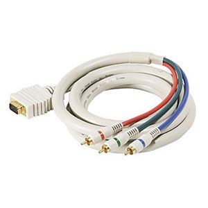 Steren 253-525IV 25' FT VGA Cable 15 Pin HD-15 3-RCA Male SVGA Python HDTV Component Ivory Gold Color Coded Double Shielded Digital Signal Jumper D-Sub, Part # 253506-IV