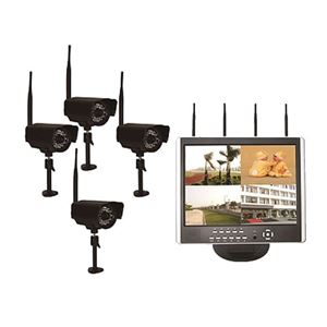 "Digital Wireless 4 Camera Home Surveilence System With 7"" LED Monitor. Part# DVR-LCD4-MINI"