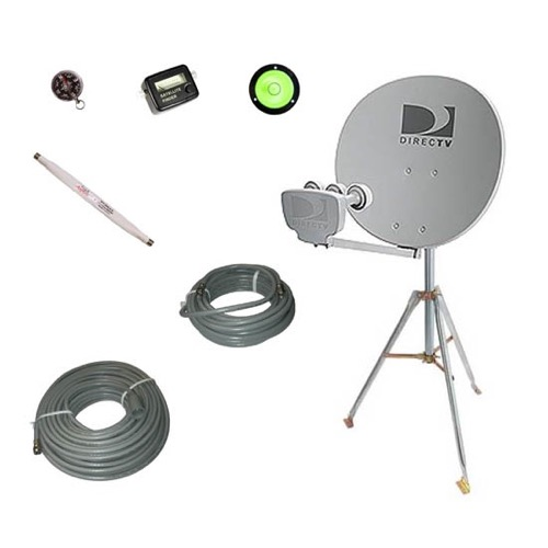 DIRECTV Phase III Satellite Dish TriPod Kit RV Tail Gating Mobile TV Portable Camper Travel Digital Signal with LNBF, Part # EZ1820