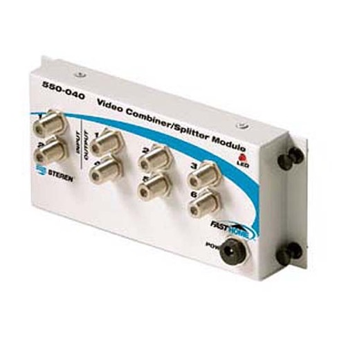 Steren 550-040 Fast Media TV Combiner Splitter Module Distributes Two CATV Lines to 6 Rooms Allows Insertion of Camera Feed from RF Modulator FastHome Video Module 18 Gauge Rolled White Painted Steel, Part # 550040