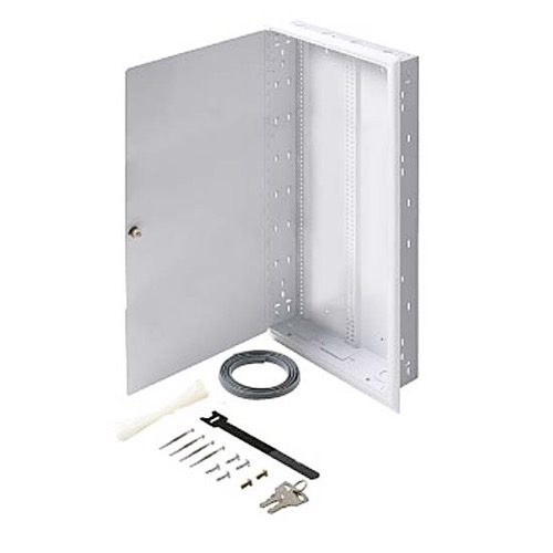"Steren 550-205 Fast Home Flush Mount Enclosure Medium 18 GA Steel 32"" Inch H x 14 3/8"" Inch W x 3 1/2"" Inch D Keyed Latch 16"" On Center White Finish FastHome Home Audio Video Module Master Hub Junction Box, Part # 550205"