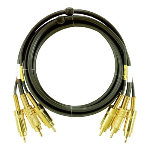 Premium Gold 6' FT RCA Composite Stereo Cable 3 Male AV Audio Video Dubbing Cable with Connectors VCR Triple 3 Wire Signal with Hook-Up, Part # Gemini AV155