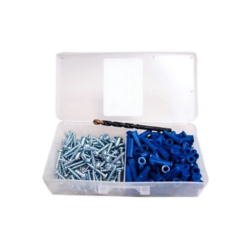 "Eagle Masonry Anchor Kit 100 Piece Plastic Concrete Mounting with #8 Screw 3/16"" Drill Bit in Plastic Case, Home Improvement Set"