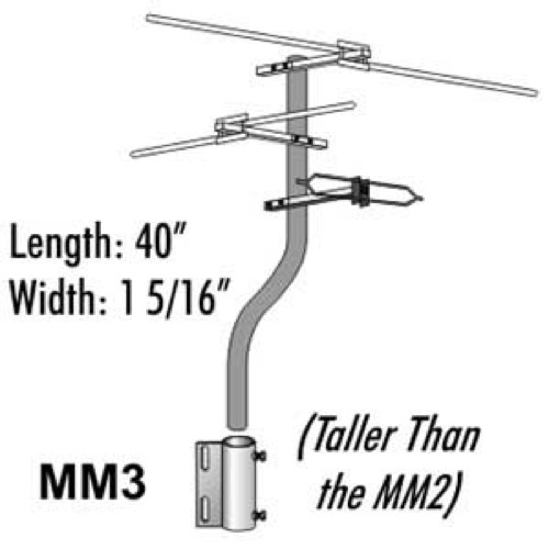 "Satellite Dish Offset Mast Mount Antenna Mast Mini MM3 Mount Satellite Minimount-3 DBS Dish Off-Set Outdoor Signal Taller Add-On Combo, 40"" Long Bracket Support, Part # MM-3"