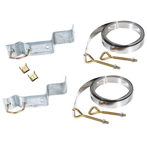 Antenna Mast Chimney Mount 10' FT Straps TV Kit Brackets Support Philips Magnavox M61411 Complete Outdoor Off-Air Local Signal Mounting Hardware, Galvanized, Part # M-61411