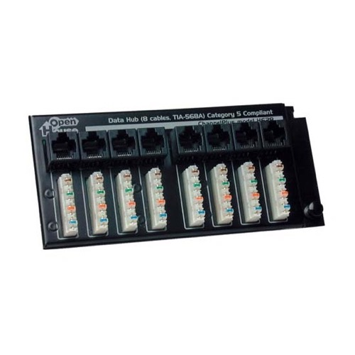 Channel Plus H628 Termination Hub Data 8 CAT5E Data Line RJ-45 Jack Terminator 100 Base T Performance with 110 Punch Down Connectors, Grid Mountable, Part # H628