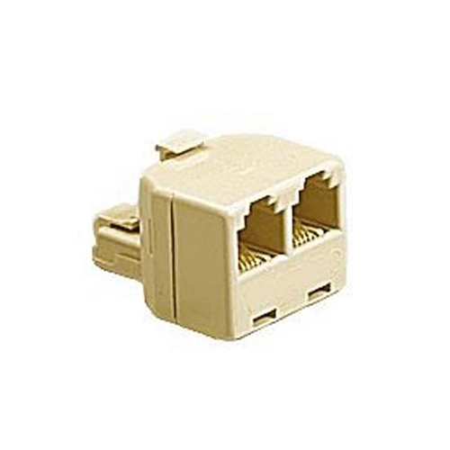 Woods 0703-1 Phone Modular Wall Adapter Splitter Ivory Dual RJ-11  Jack Plug Audio Data Signal Cable Connector Outlet Snap-In Component, Part # Woods 0703-I