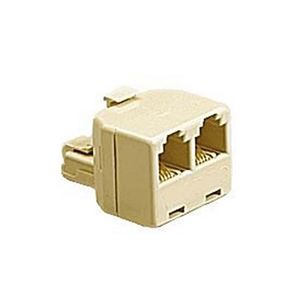 Steren 300-024IV Telephone Tee Adapter Ivory RJ11 Male to 2 RJ-11 Female Modular Splitter Line 2 Way Dual Jack Plug Audio Data Signal Cable Connector Outlet Snap-In Component, Part # 300024-IV