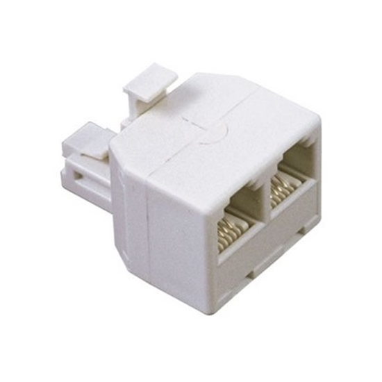 RCA TP257 2-in-1 Modular Adapter White Phone Splitter Jack 2 Way Adapter Divider Line Telephone Signal Snap-In Connector Plug Cable Device