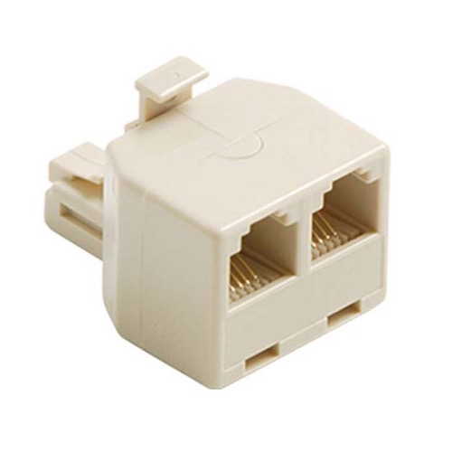 Eagle 2-Way Wall Modular 6 Wire Phone Adapter RJ11 RJ12 White Dual T Splitter Line RJ-11 RJ-12 Twin 2 Outlet Telephone Plug Jack Duplex Converter Connection Snap-In, Part # PH026I