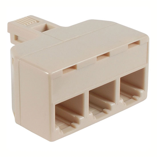 Nippon KR-203 Modular 3 Way T Adapter Modular Phone Wall Divider RJ11 Plug Jack Ivory Line Cord Splitter Audio Data Signal Cable Triple Connector Outlet Snap-In Component