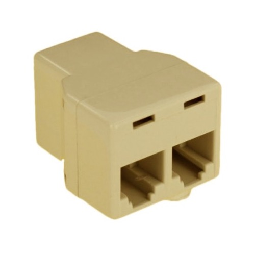 Leviton C0280-I Telephone Modular 2-Way Coupler Tee Adapter Ivory Splitter Dual Cord Telephone Line Data Base Plug Extension Divider Connection Jack Adapter, Part # C0280I