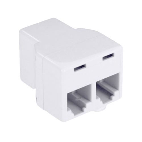 Leviton C0280-W Phone Modular 2-Way Coupler Tee Adapter Splitter White Dual Cord Telephone Line Data Base Plug Extension Divider Connection Jack Adapter, Part # C0280W