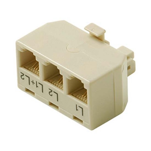 Steren 301-324IV Telephone Adapter Modular 4C Tee 3-Jack Way Triple Splitter Line 1 Line 6X2 2 Line 6X2 Line 1+2 6X4 Jack to 6X4 Plug UL Ivory High Impact ABS Plastic Gold Contacts RJ11-12, Part # 301324-IV