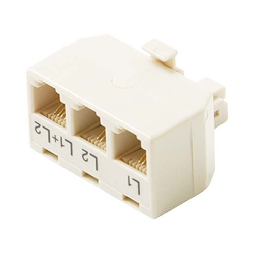 Eagle 3 Way T Adapter 2 Line White Telephone Jack Splitter 6P4C 4 Conductor RJ11 Triplex Modular 4C Tee Jack 1 Line 6X2 2 Line 6X2 Line 1+2 6X4 Jack to 6X4 Plug UL High Impact ABS Plastic Gold Contacts
