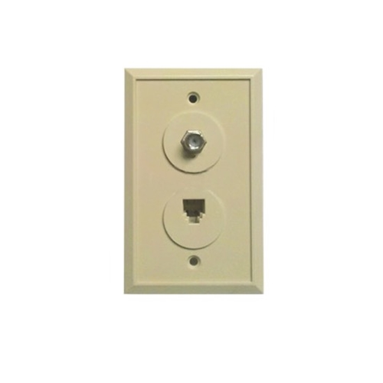 Summit Wall Plate Telephone F Video Coaxial Ivory F81 RJ11 Jack TV Coax Wall Plate RJ-11 Modular Data Line Audio Signal Video 75 Ohm Coaxial Cable Plug, 2 Device Outlet Cover, Part # Woods 0968I