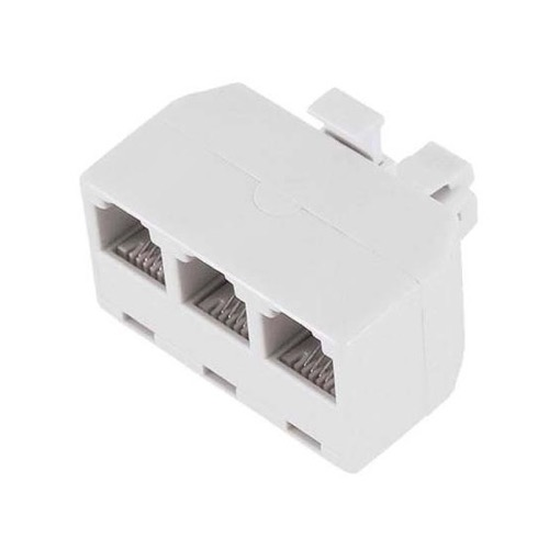 Eagle Telephone 3 Outlet Wall Adapter White Splitter 3 Way Modular Jack Plug Gold 4 Conductor White 3-Way Modular Phone Line Splitter Tri-Plex RJ11 Wall Splitter 3 Way Triplex Snap-In Jack