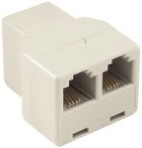 Eagle Telephone 2-Way Phone Coupler Splitter Modular Adapter Ivory Line Cord RJ11 Female PortsSplitterDual Jack Telephone Snap-In Extension Standard Add-On Cord Divider