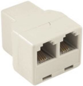 Steren 300-074 2-Way Phone Line Coupler Ivory Modular Tee Telephone In-Line Adapter Splitter Dual Jack Telephone Snap-In Extension Standard Add-On Cord Divider, Part # 300074